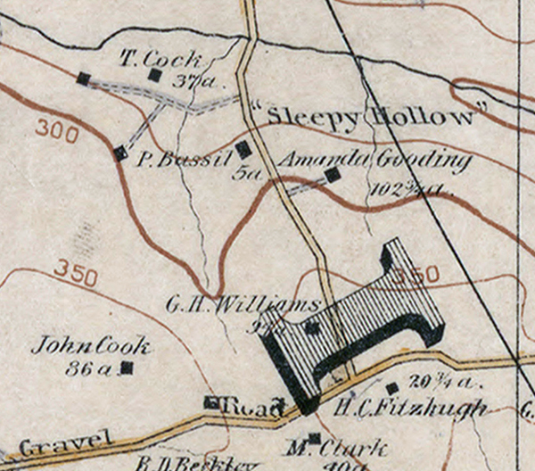 Detail of a map of Fairfax County by Griffith Morgan Hopkins showing Sleepy Hollow Farm.