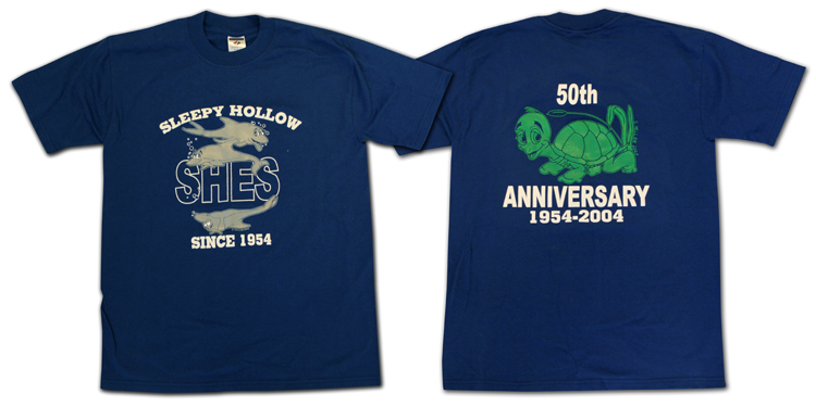 Photograph of the front and back of the 50th anniversary t-shirt. The dolphin mascot is on the front and the turtle mascot is on the back.