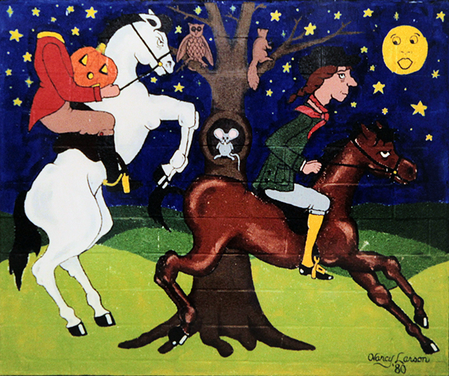 Photograph of a mural. The painting depicts a scene from the short story, The Legend of Sleepy Hollow by Washington Irving, in which character Ichabod Crane is being chased by the Headless Horseman.